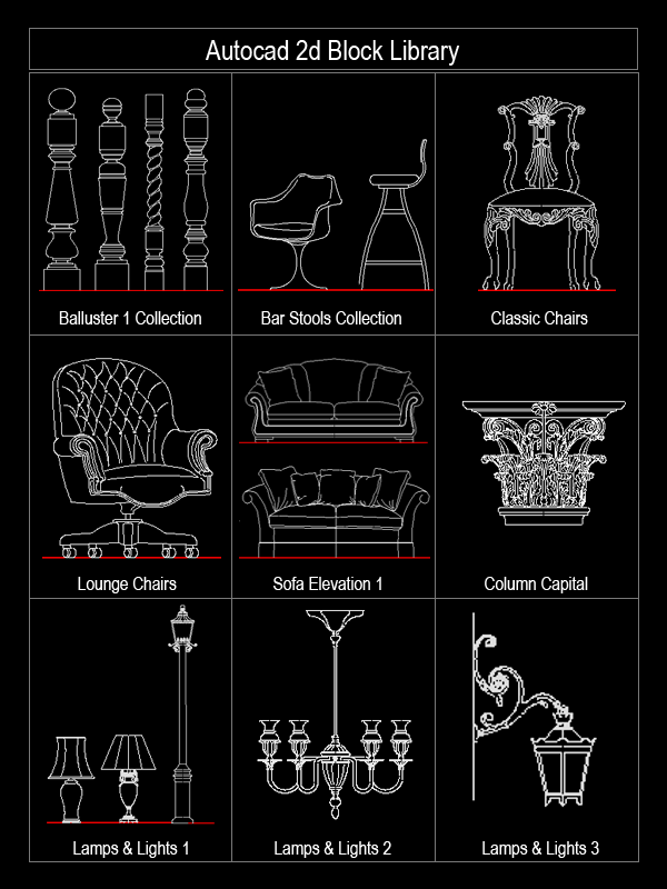 Chairs AutoCAD Block 2D Elevation